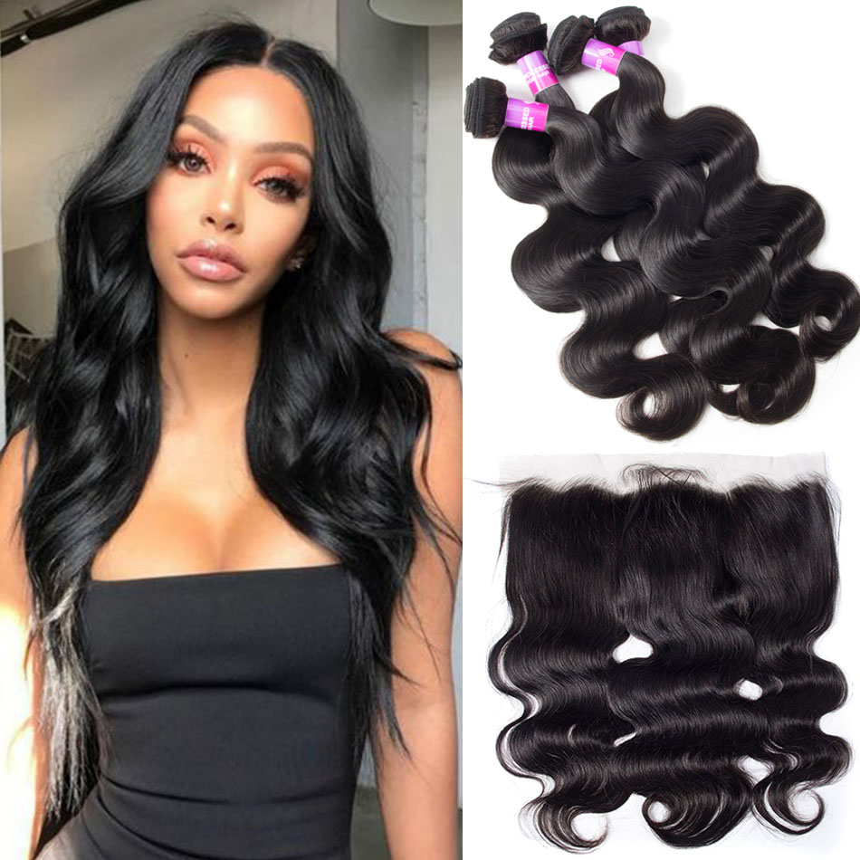 Brazilian Body Wave Hair 4 Bundles With Lace Frontal