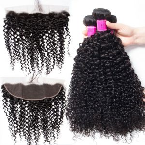Brazilian Curly Wave Bundles With Lace Frontal Sale