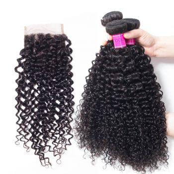 Brazilian Curly Weave Hair 4 Bundles With Closure