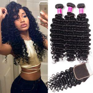 Brazilian Deep Wave Hair 3 Bundles With Lace Closure