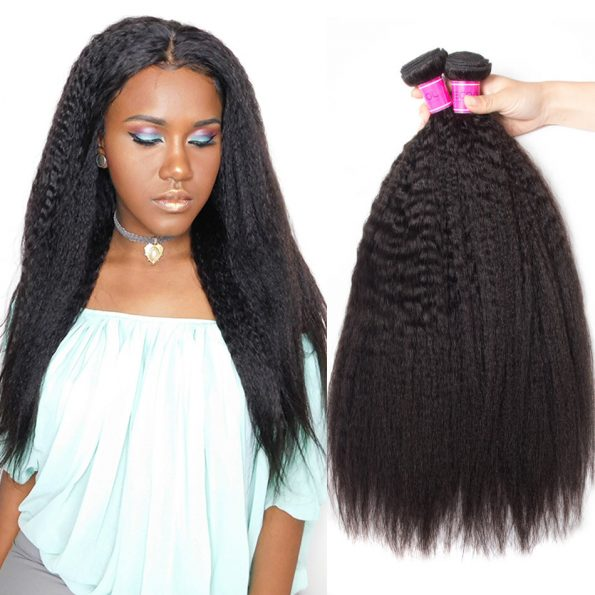 Brazilian Human Hair Kinky Straight Hair Weave 4 Bundles