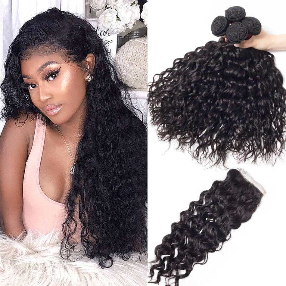Brazilian Human Hair Water Waves Bundles With Lace Closure