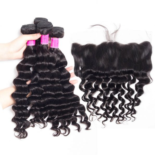 Brazilian Loose Deep 4 Bundles With Lace Frontal Closure