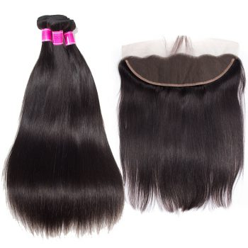 Brazilian Virgin Hair Straight 3 Bundles With Frontal
