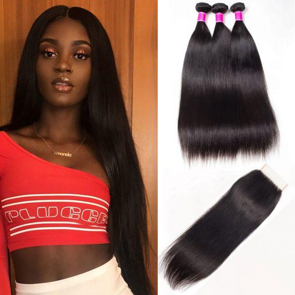 Brazilian Virgin Human Straight Hair 4Bundles With Clousre