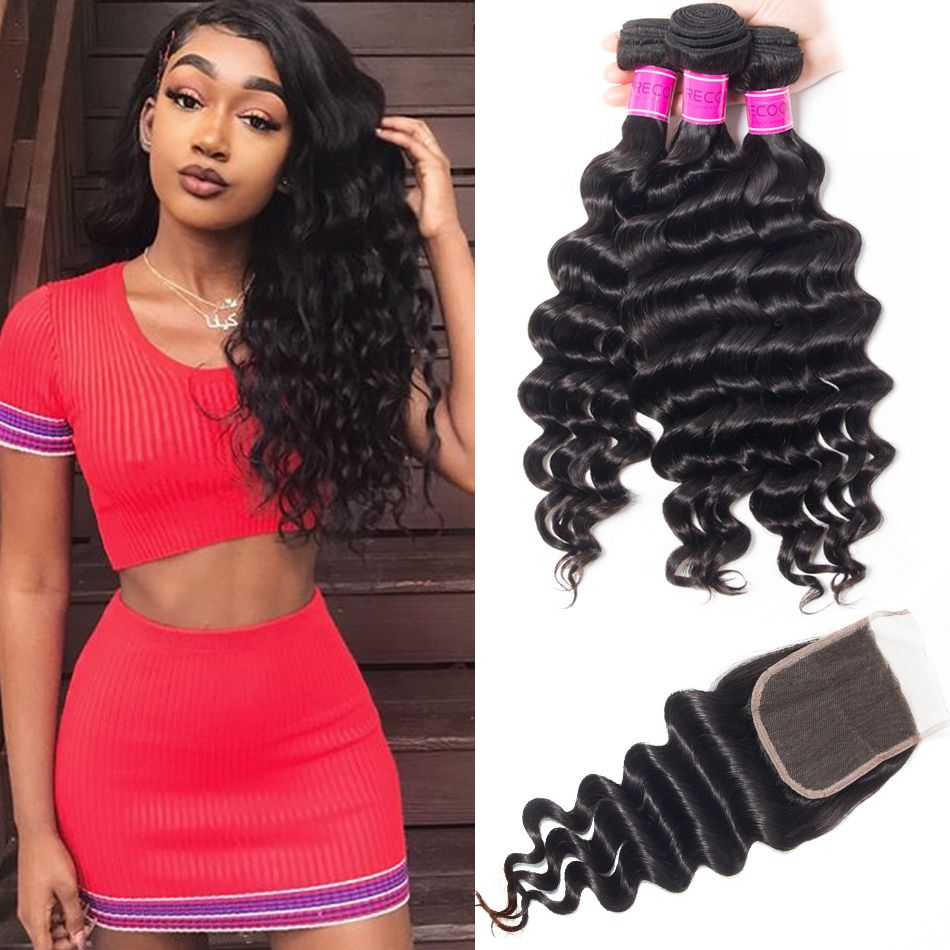 Hot Sale Brazilian Loose Deep Bundles With Closure