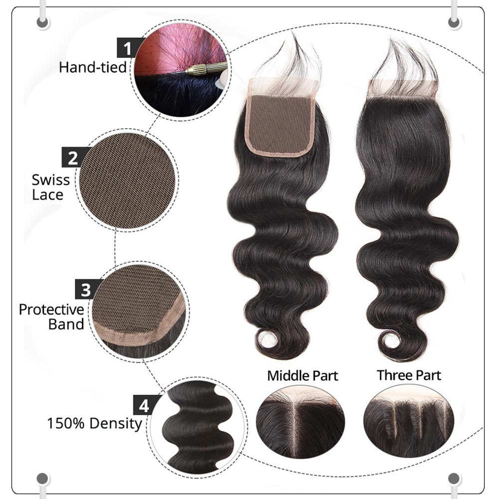 Human Hair lace Closure Hair Body Wave Lace Closure 1