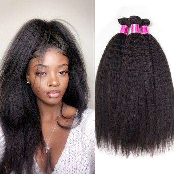 Kinky Straight Brazilian Hair Weave 3 Bundles