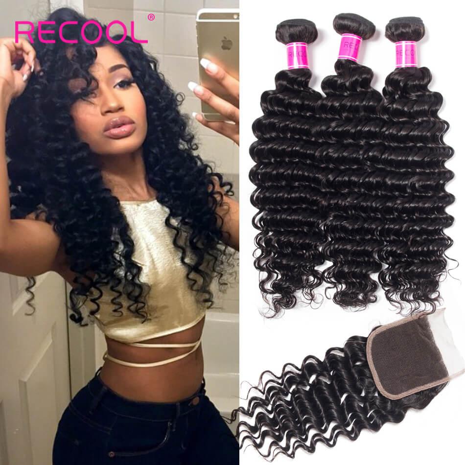 Brazilian Deep Wave Hair 3 Bundles With Lace Closure | Recool Hair