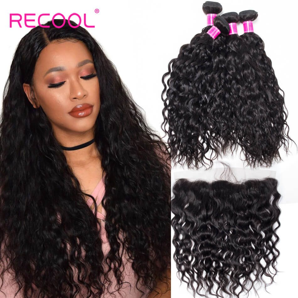 Water Wave Virgin Human Hair Bundles with Frontal Closure Wet Any Wavy Hair Extension Frontal and Bundles