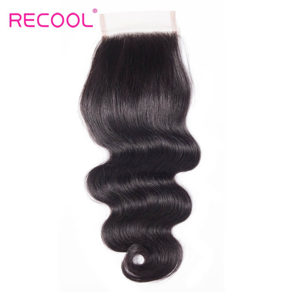 Recool Virgin Body Wave Human Hair 4*4 Lace Closure 1 PCS