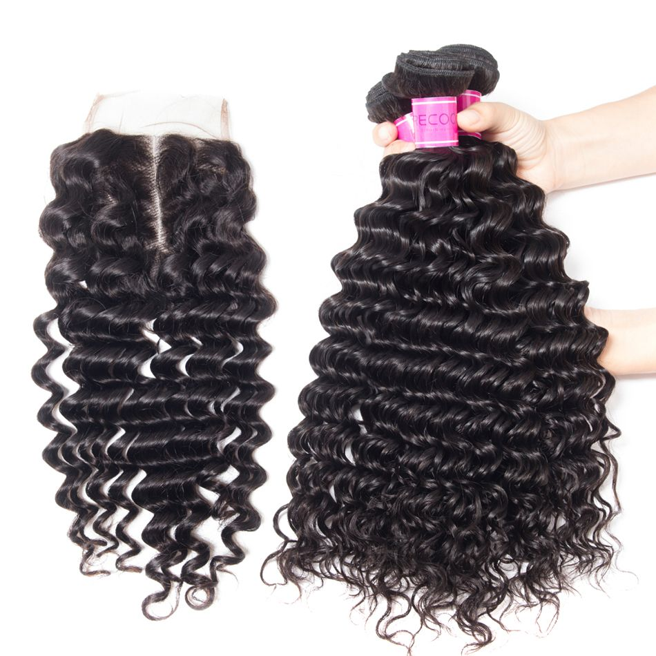 10A Indian Remy Deep Wave Bundles With Closure Sales