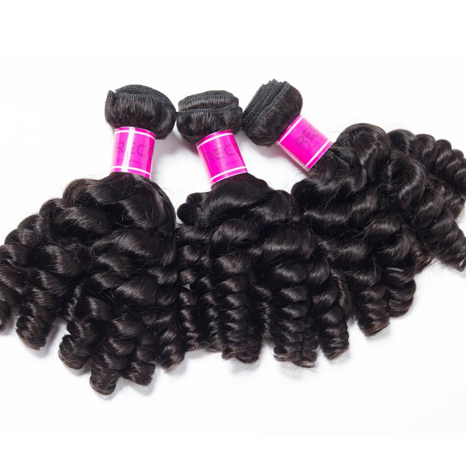 Bouncy Curly Hair Bundles Indian Virgin Human Hair