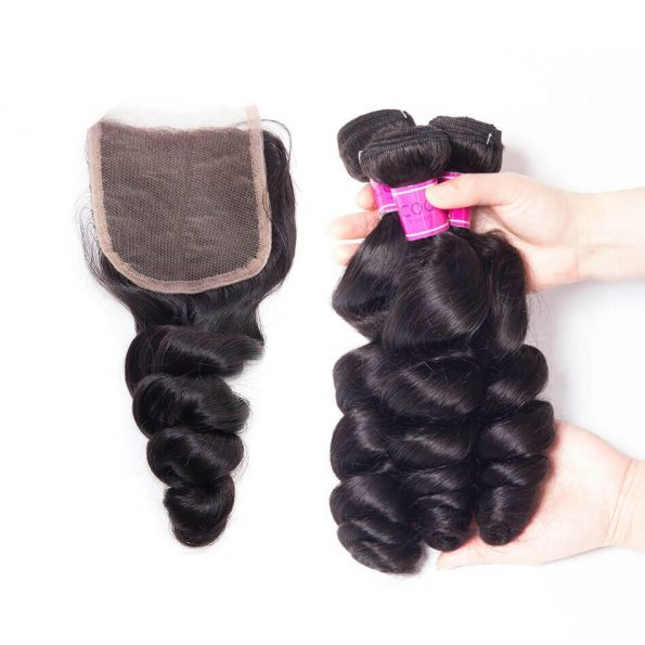 Cheap Peruvian Loose Wave Hair Bundles With Closure
