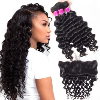 Indian Loose Deep Bundles With Frontal Sale