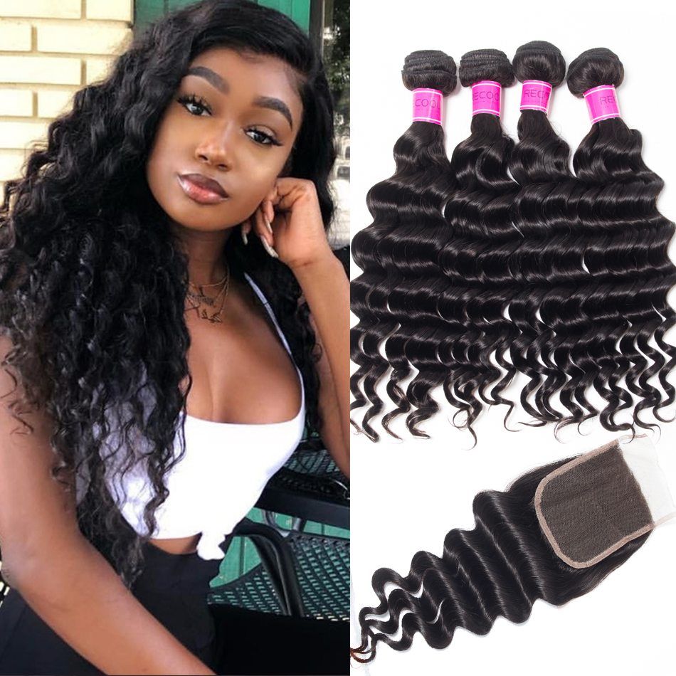 Indian Loose Deep Human Hair Weave With Lace Closure
