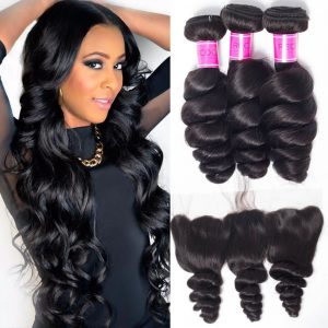 Indian Loose Wave 4 Bundles With Lace Frontal Closure