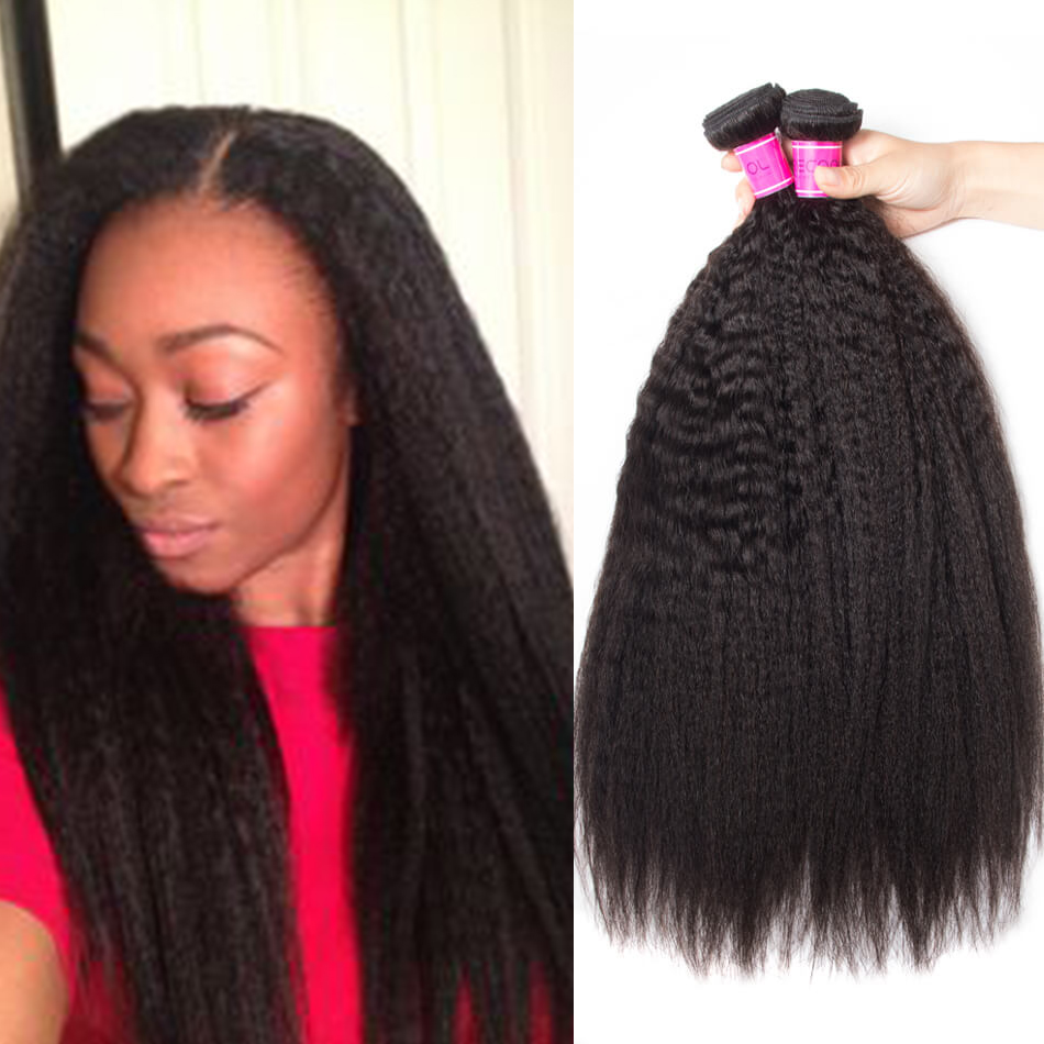 Indian Yaki Kinky Straight Hair 3 Bundles