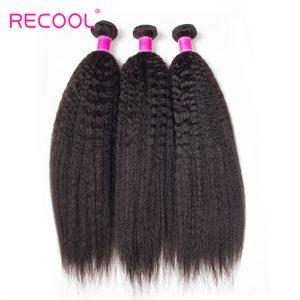 Kinky Straight Hair Malaysian Virgin Hair 4 Bundles Recool 8A Grade Virgin Human Hair Yaki Straight Hair