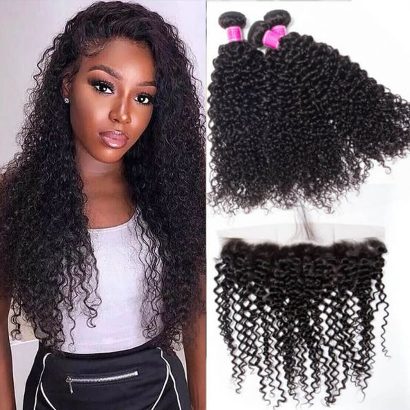 Malaysian Curly 3 bundles with frontal