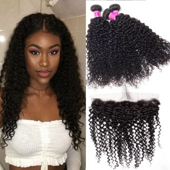 Malaysian Curly Wave Bundles With Lace Frontal Sale