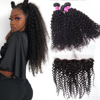 Malaysian Curly Wave Hair With Lace Frontal Closure