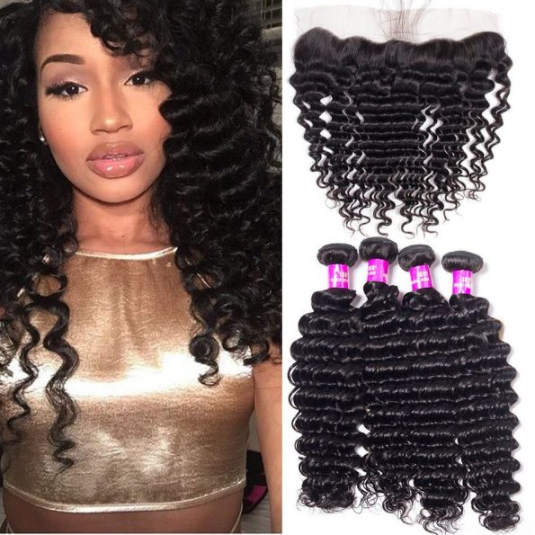 Malaysian Deep Wave 4 Bundles With Lace Frontal Closure