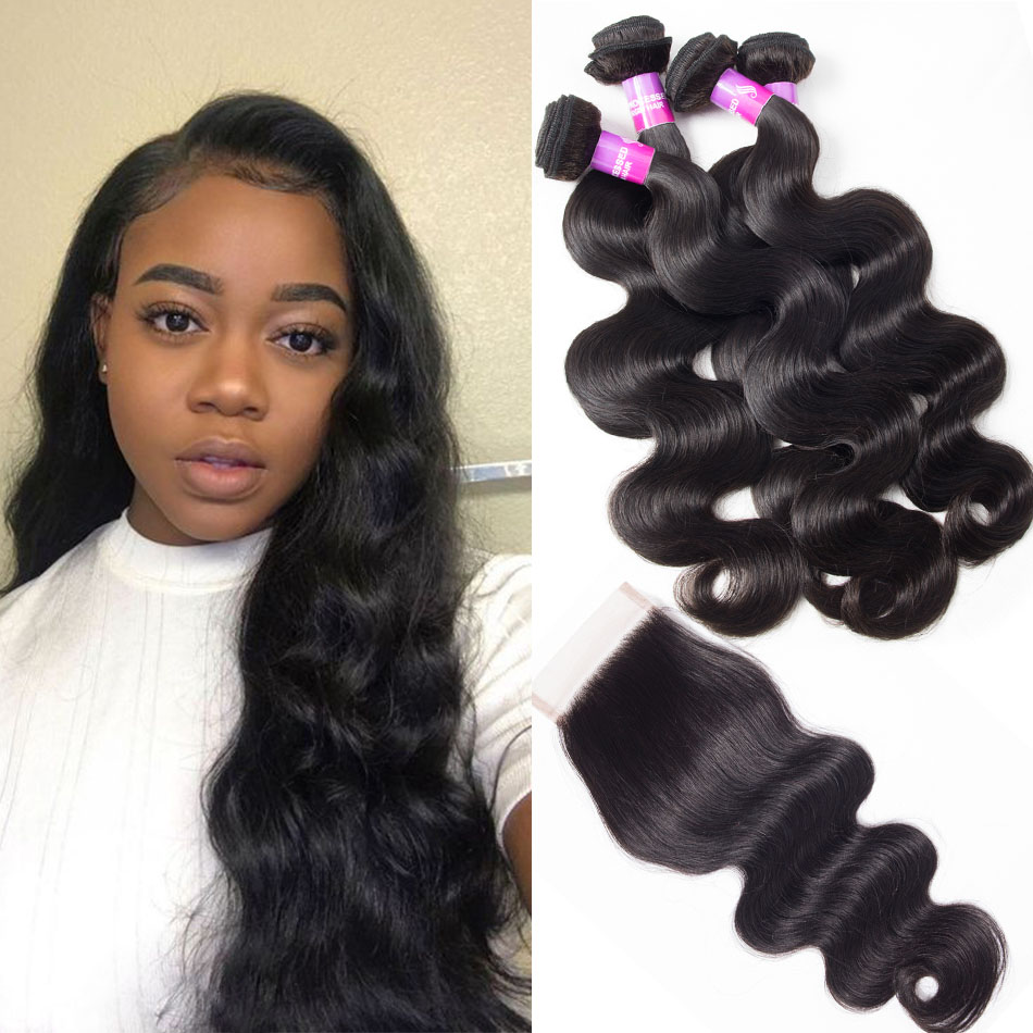 Malaysian Human Hair Body Wave 4 Bundles With Lace Closure
