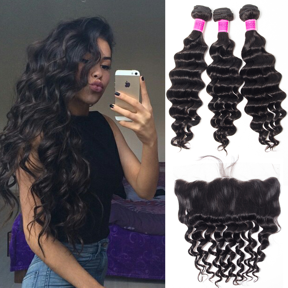 Malaysian Loose Deep Bundles With Lace Frontal Deals