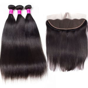 Malaysian Straight Hair 3 Bundles With Frontal High Quality