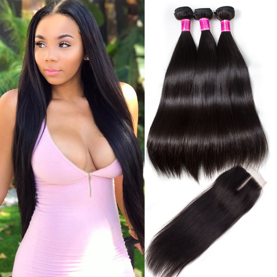 Malaysian Straight Hair 4 Bundles With Lace Closure