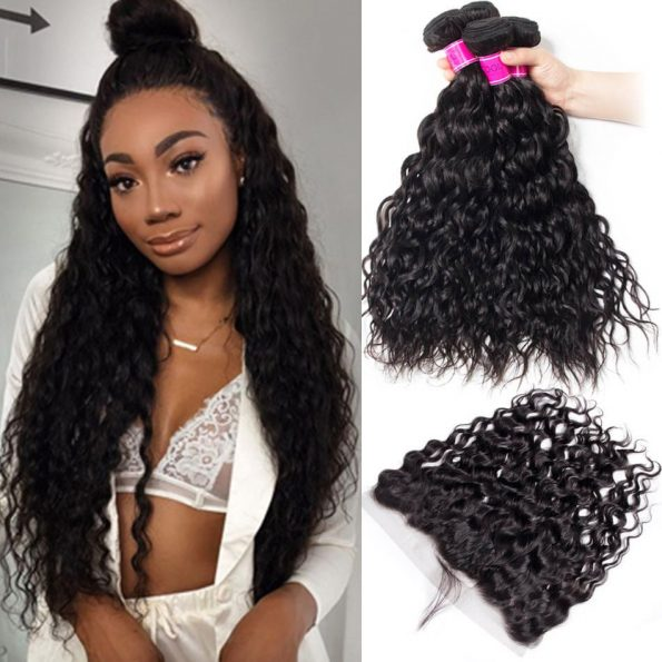 Malaysian Water Wave 4 Bundles Deals with Lace Frontal