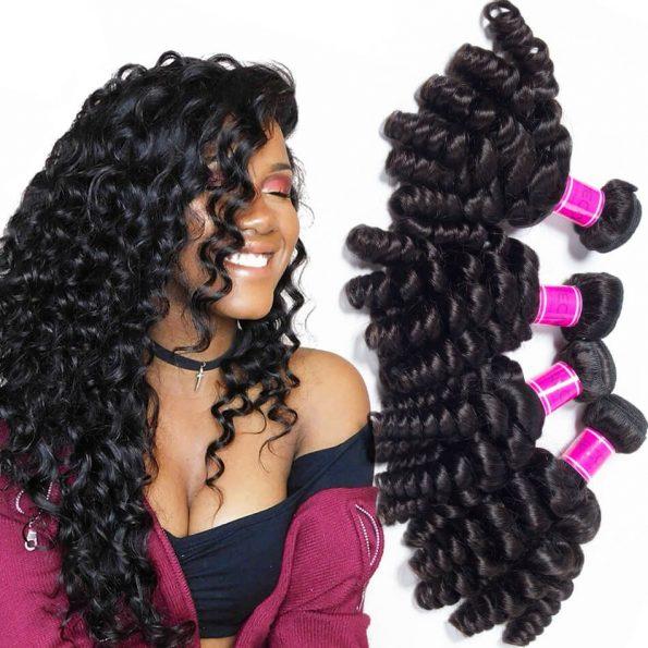 Malaysian virgin human Hair Bundles Bouncy Curly 3 Bundles