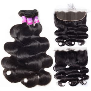 Peruvian Body Wave Hair 3 Bundles With Lace Frontal