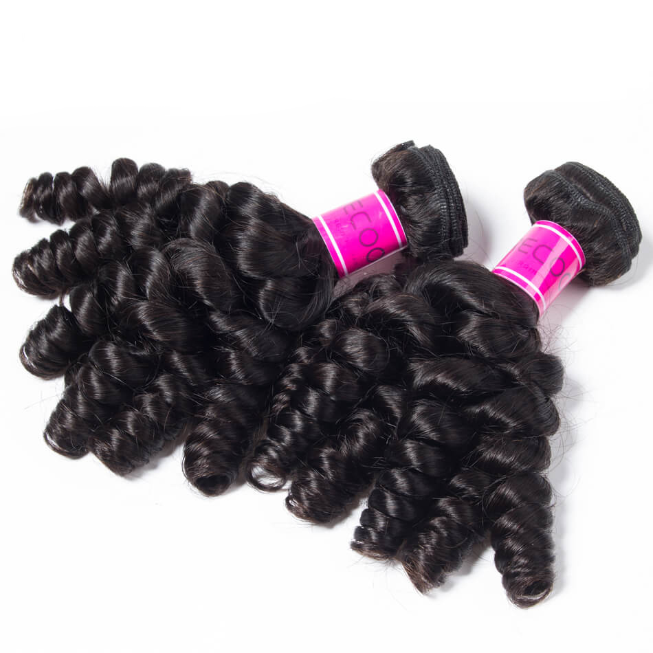 Peruvian Bouncy Curly 4 Bundles Natural Black Unprocessed