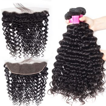 Peruvian Deep Wave Bundles With Frontal Deals