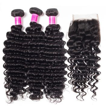 Peruvian Deep Wave Hair 4 Bundles with Closure