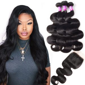 Peruvian Hair Body Wave 3 Bundles With Closure Sale