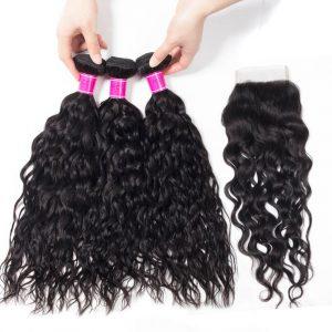 Peruvian Virgin Hair Wet and Wavy 4 Bundles with Closure
