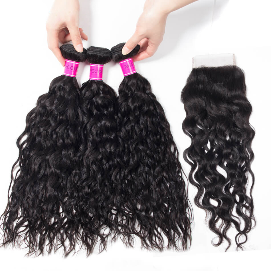 Peruvian Virgin Hair Wet and Wavy 4 Bundles with Closure