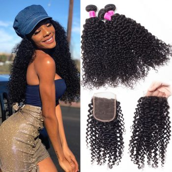 Peruvian Virgin Hair afro Curly Wave Hair With Closure