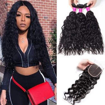Peruvian Wet and Wavy Hair Bundles With Closure
