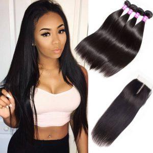 Peruvian-straight-Hair-4-Bundles-With-Closure