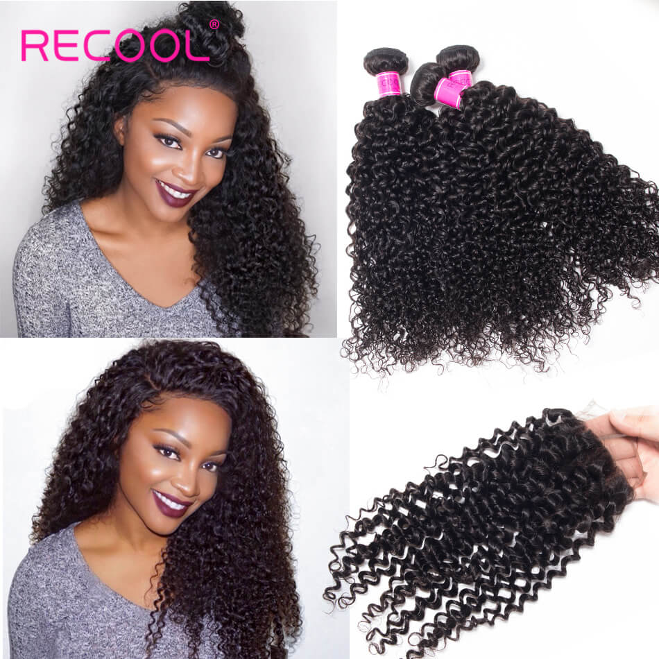 Recool Indian Curly Virgin Hair With Closure 100% Human Hair Bundles With Closure Jerry Curly