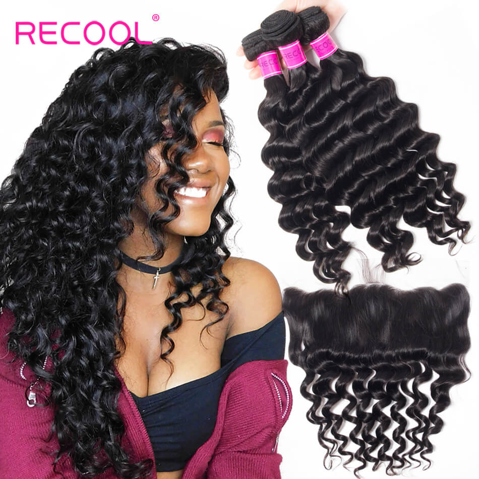 Virgin Hair Bundles Loose Deep Wave With 13*4 Frontal Closure Best Deals 3 Bundles Human Hair Weft With Frontal