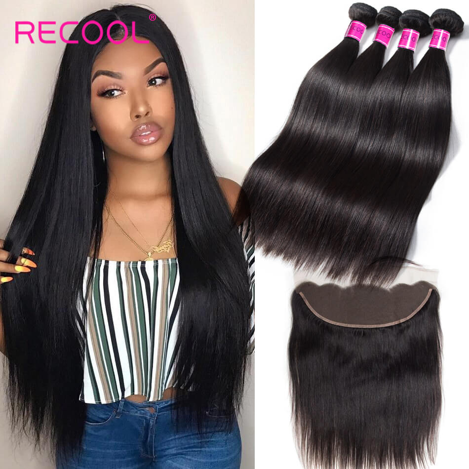 Peruvian Straight Virgin Hair 4 Bundles With Frontal Recool Hair 8A Human Hair Frontal With Bundle Deals