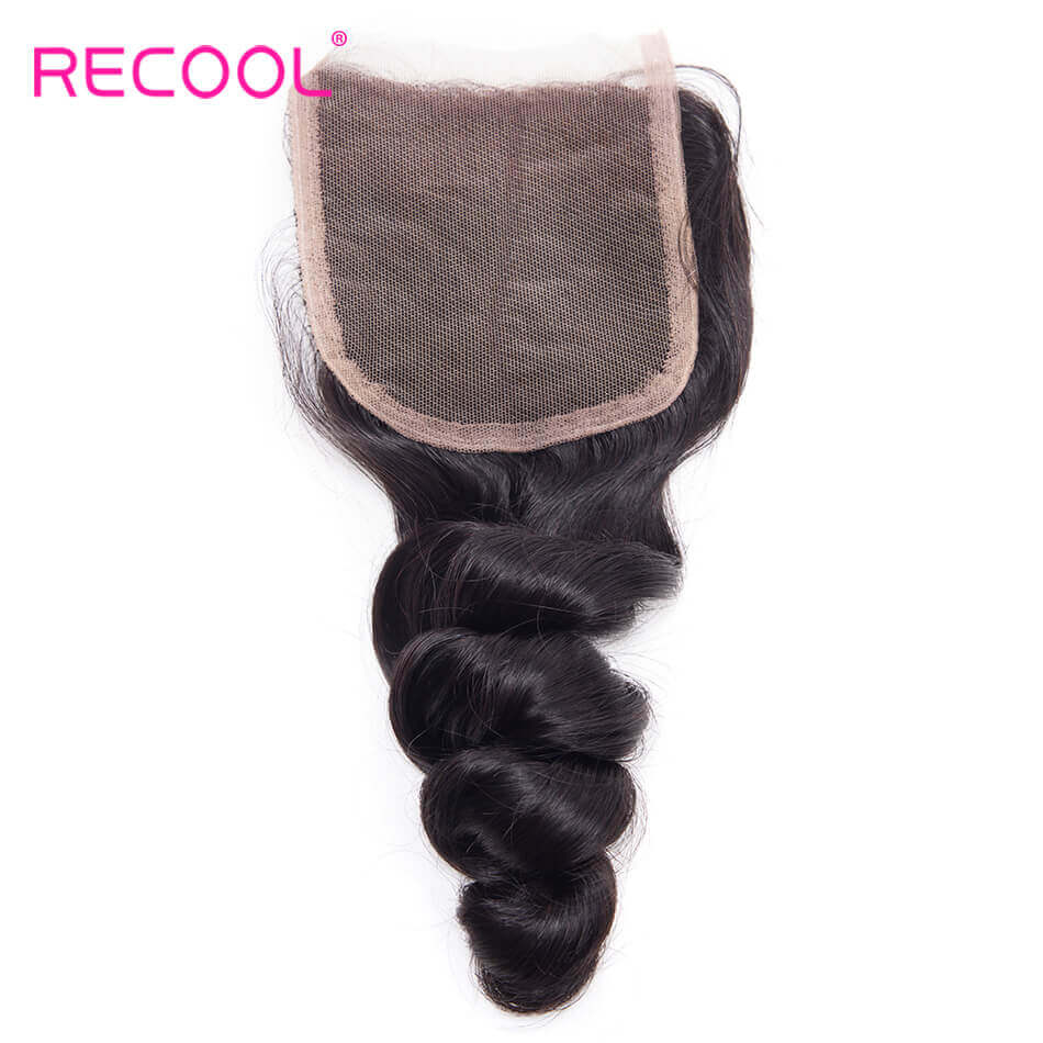 Recool Hair Loose Wave Bundles With Closure 100% Remy Vrigin Hair Loose Wave Bundles Hair With Closure