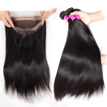 Straight Hair 4 Bundles With 360 Lace Frontal