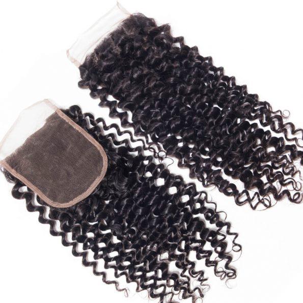 Virgin Hair Curly Wave Human Hair 4×4 Lace Closure 1 PCS