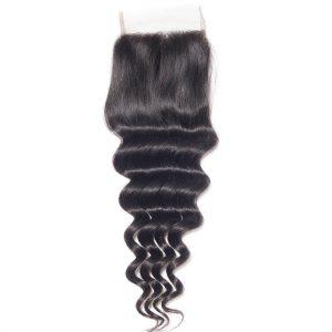 Virgin Hair Loose Deep Wave Human Hair 4x4 Lace Closure 1 PCS